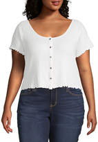 Arizona Juniors Plus Womens Short Sleeve Fitted Button-Front Shirt
