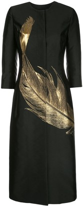 Oscar de la Renta Feather Long Panelled Coat