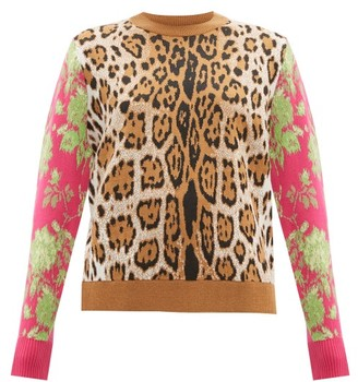 MSGM Leopard-intarsia Sweater - Womens - Leopard