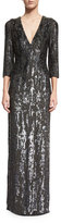 Jenny Packham 3/4-Sleeve Burnout Sequined Gown, Black