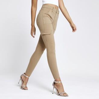 River Island Womens Beige Amelie super skinny utility jeans