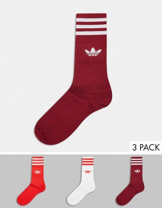 adidas trefoil 3 pack crew socks in red