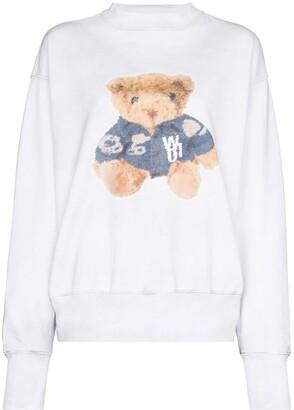 we11done Teddy-print cotton sweatshirt