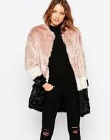 Maison Scotch Faux Fur Stripe Coat