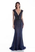 Terani Couture 1612GL0503A Beaded V-neck Trumpet Dress