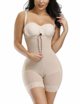 FeelinGirl Shapewear for Women Firm Control Open Bust Body Shaper Adjustable Straps Zip with Hook Closure 24-26