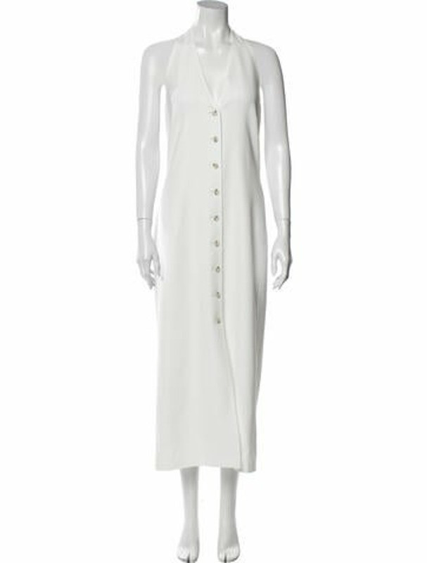 ADEAM V-Neck Long Dress White