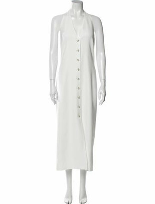 ADEAM V-Neck Long Dress White