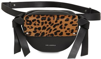 Karl Lagerfeld Paris Logo Ponyskin & Leather Belt Bag