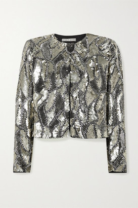 Alice + Olivia Kidman Cropped Sequined Silk Jacket - Silver