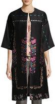 Etro Floral-Embroidered Kimono Topper Coat, Black
