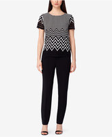 Tahari ASL Textured Chevron-Print Top