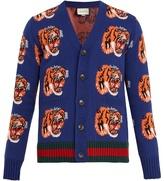 Gucci V-neck Tiger-jacquard Wool Cardigan