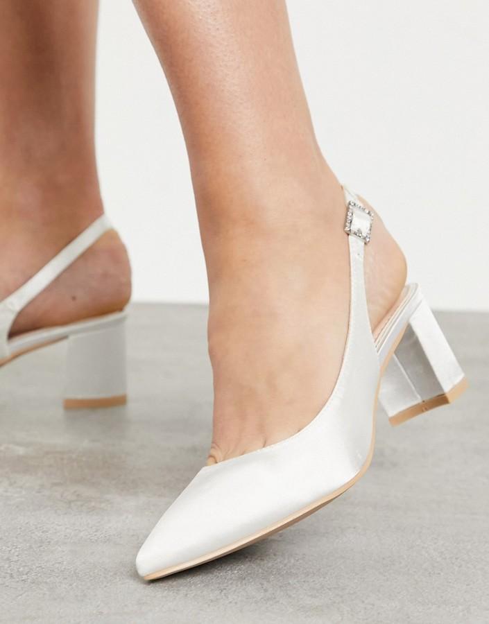 Be Mine Bridal Rubina sling back heeled shoes in ivory satin