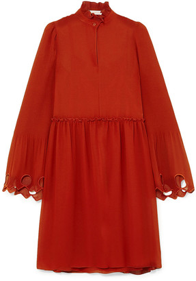See by Chloe Broderie Anglaise-trimmed Plisse-paneled Georgette Dress