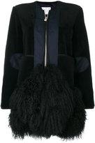 Sacai zipped fur embellished coat