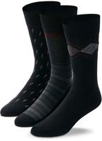 Black Brown 1826 3-Pack Fancy Combed Cotton Socks
