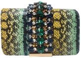 Sondra Roberts Faux Python Embellished Stone Crossbody
