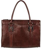 Wilsons Leather Womens Top-Zip Executive Leather Tote Cognac
