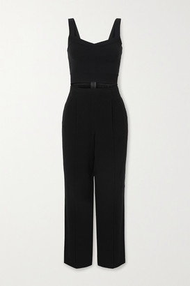 Herve Leger Cutout Cotton-blend And Crepe Jumpsuit - Black