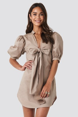 NA-KD Puff Sleeve Tied Front Short Dress Beige