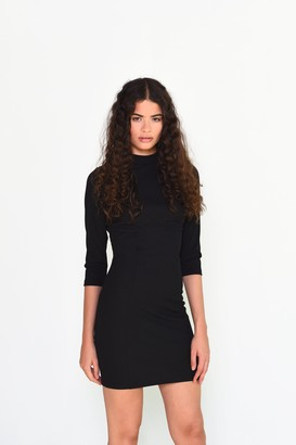 Glamorous Womens **Ribbed High Neck Jersey Dress By Black