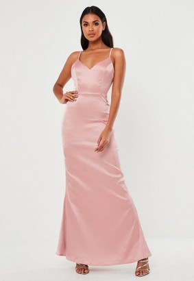 Missguided Blush Satin Cami Button Back Maxi Dress