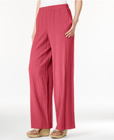 JM Collection Petite Pull-On Wide-Leg Crinkle Pants, Only at Macy's