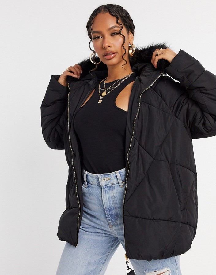Thumbnail for your product : Qed London diamond quilted puffer jacket in black