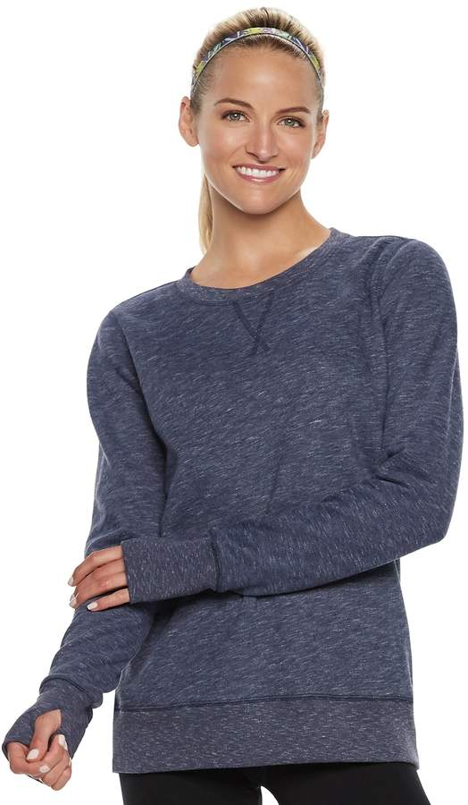 Tek Gear Women's Ultrasoft Fleece Crewneck Thumb Hole Sweatshirt
