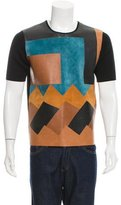 Salvatore Ferragamo Leather-Paneled Virgin Wool Sweater