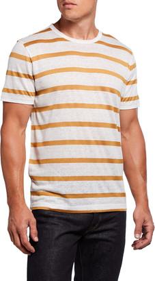 7 For All Mankind Men's Striped Linen-Blend Tee