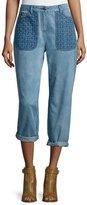 Belstaff Quilted-Pocket Boyfriend Jeans, Indigo
