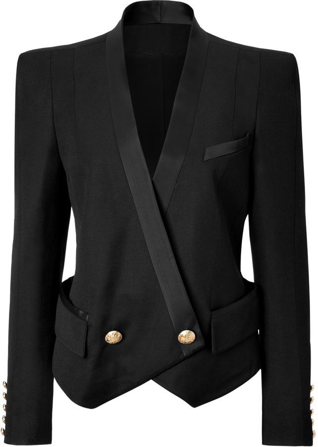Balmain Wool Bold Shoulder Blazer in Black