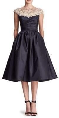 Marchesa Women's Pearl-Embellished Off-the-Shoulder A-Line Dress - Black - Size 4
