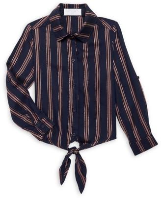 Bella Dahl Little Girl's & Girl's Tie-Front Stripe Shirt