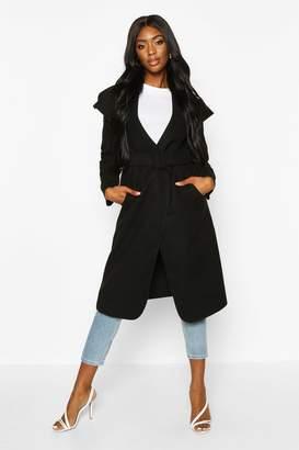 boohoo Self Fabric Buckle Belted Wool Look Coat