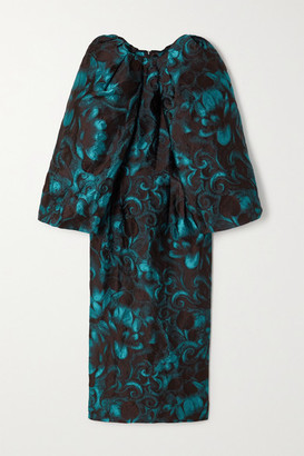 Dries Van Noten Floral-jacquard Midi Dress - Turquoise