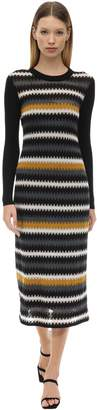 M Missoni Striped Virgin Wool Blend Knit Dress