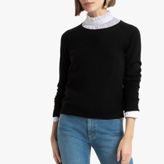 La Redoute Collections Cashmere Fine Knit Jumper with Crew Neck and Ribbed Detail