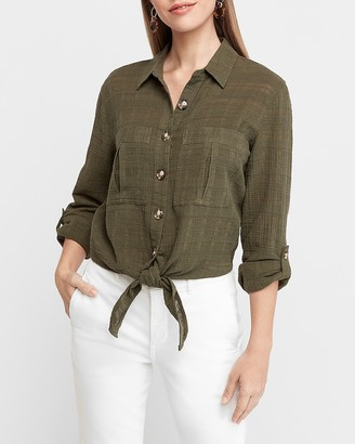Express Textured Tie Front Button Utility Shirt