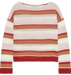 Vanessa Bruno Lorelei Striped Open-knit Cotton-blend Sweater