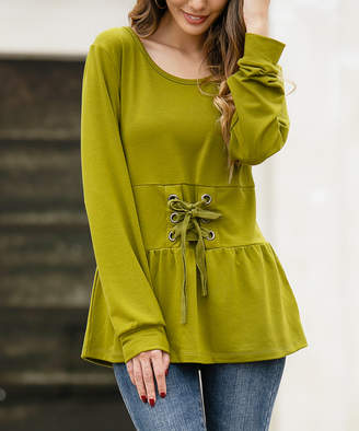 Z Avenue Women's Blouses Olive - Olive Lace-Up Waist Scoop Neck Peplum Top - Women & Plus