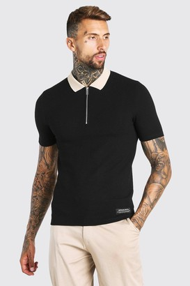 boohoo Mens Black Muscle Fit Half Zip Contrast Collar Knitted Polo, Black