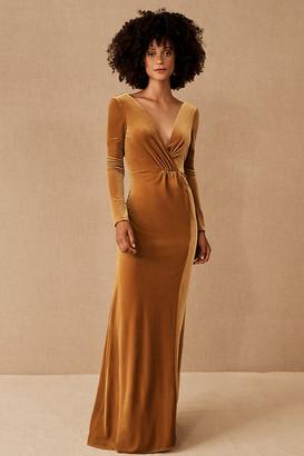 Jenny Yoo Ryland Velvet Dress By in Yellow Size 8
