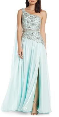 Mac Duggal One-Shoulder Sequin Cape Gown