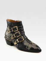 Chloe Studded Leather Buckle Ankle Boots