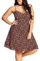 City Chic Plus Size Women's Ditsy Floral Fit & Flare Dress