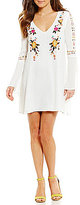 Sugar Lips Sugarlips Floral-Embroidered Bell Sleeve Shift Dress