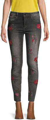 Driftwood Jackie Embroidered Rose Skinny Jeans